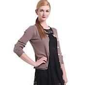 suéter de manga larga casual / trabajo para mujer, tejido de punto medio