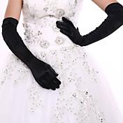 ストレッチサテン スパンデックス生地 オペラレングス グローブ ブライダル手袋 パーティー/イブニング手袋 With プリーツ