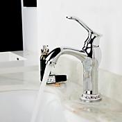 デッキマウント セラミックバルブ シングルハンドルつの穴 for  クロム , バスルームのシンクの蛇口