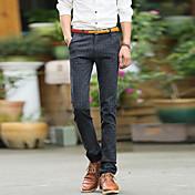 Hombre Casual Tiro Medio Rígido Delgado Empresa Pantalones,Un Color Algodón Todas las Temporadas