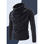 Camisas Casuales ( Algodón / Algodón Compuesto )- Casual / Trabajo Redondo Manga Larga para Hombre