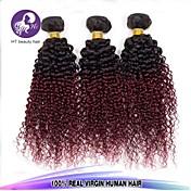 人毛 ペルービアンヘア 人間の髪編む カーリー ヘアエクステンション 4個 #T1B BUG