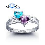 指輪 女性用 / カップル用 / 男女兼用 キュービックジルコニア 純銀 純銀 6 / 7 / 8 / 9 銀 装飾物のカラーは画像をご参照ください.