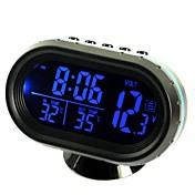 ziqiao multifuncional coche electrónica reloj / termómetro / voltímetro con luces nocturnas pantalla de vidrio blanco (colores aleatorios)