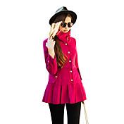 Mujer Un Color Abrigo Manga Larga Invierno Poliéster / Licra Azul / Rosa / Marrón / Naranja