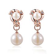 女性 クリップイヤリング 真珠 コスチュームジュエリー 真珠 人造真珠 キュービックジルコニア 合金 ジュエリー 用途