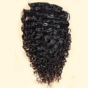 venta caliente 100% mongol pinza de pelo humano en la extensión rizada humanos 8pcs extensión armadura del pelo / juego de pinzas de 100g