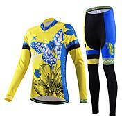 cheji® Mujer Manga Larga Maillot de Ciclismo con Mallas Bicicleta Camiseta/Maillot Sets de Prendas, Secado rápido, Resistente a los UV,