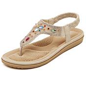 女性用 靴 レザーレット 春 夏 スリングバック フラットヒール スパークリンググリッター のために カジュアル ホワイト アーモンド