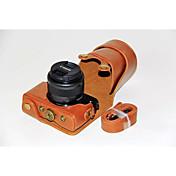 キヤノンのEOS M10 15-45レンズ(アソートカラー)用のショルダーストラップ付きdengpin®PUレザーカメラケースバッグカバー