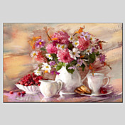 手描きの 静物画 / 花柄/植物のModern 1枚 キャンバス ハング塗装油絵 For ホームデコレーション