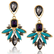 Pendientes colgantes Cristal Zirconio Zirconia Cúbica Brillante Legierung Dorado Azul Joyas 2 piezas
