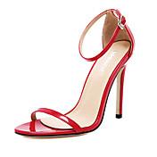 レディース 靴 エナメル 夏 スティレットヒール 用途 ドレスシューズ パーティー ホワイト ブラック レッド アーモンド