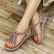 Mujer Zapatos Semicuero Verano Talón Descubierto Tacón Cuña Plataforma Para Vestido Morado Almendra
