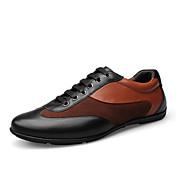男性用 靴 レザー 春 秋 コンフォートシューズ 編み上げ のために カジュアル オフィス&キャリア アウトドア ブラック Brown