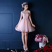 ボールガウン プリンセス イリュージョンネックライン 膝丈 レース フラワー パール装飾 〜と カクテルパーティー ドレス 〜によって QZ