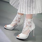 Mujer / Chica Zapatos Semicuero Primavera / Verano Tacón Stiletto / Plataforma Cremallera / Flor Blanco / Negro / Boda / Fiesta y Noche