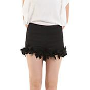De las mujeres Pantalones Perneras anchas-Casual Rígido-Poliéster / Licra
