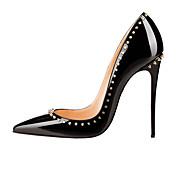 Mujer Zapatos Cuero Patentado Semicuero Primavera Verano Otoño Pump Básico Tacón Stiletto Dedo Puntiagudo Cuentas Remache Para Boda