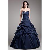 Salón Sin Tirantes Hasta el Suelo Tafetán Evento Formal Vestido con Cuentas Falda Plegada por TS Couture®