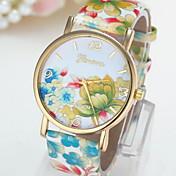Mujer Reloj de Moda Cuarzo Piel Banda Flor Múltiples Colores