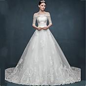 Corte en A Princesa Catedral Tul Vestido de novia con Apliques por LAN TING BRIDE®