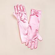 弓のエレガントなスタイルとサテンのオペラの長さの手袋花の少女の手袋