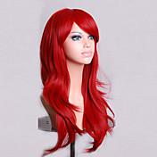 女性 人工毛ウィッグ キャップレス ナチュラルウェーブ レッド 衣装ウィッグ ハロウィンウィッグ カーニバルウィッグ コスチュームウィッグ