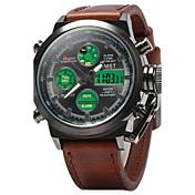 男性 軍用腕時計 リストウォッチ LED LCD カレンダー 耐水 アラーム 光る カジュアルウォッチ クォーツ 日本産クォーツ レザー バンド カモフラージュ ラグジュアリー ブラウン