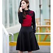 Mujer Tallas Grandes Faldas Un Color Trabajo Hasta la Rodilla Nailon Micro-elástica
