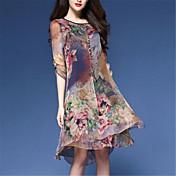 Mujer Tallas Grandes Tejido Oriental Corte Ancho / Gasa Vestido - Estampado, Floral Hasta la Rodilla / Primavera / Verano / Patrones florales