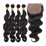 閉鎖が付いている毛横糸 ペルービアンヘア ウェーブ 12ヶ月 5個 ヘア織り