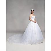 Salón Escote Corazón Catedral Encaje Tul Vestido de novia con Cuentas Lentejuela Apliques Lazo por QQC Bridal