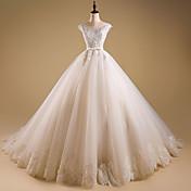Salón Joya Larga Organza Vestido de novia con Cuentas Apliques Volante por LAN TING BRIDE®