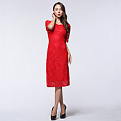 Mulheres Bainha Vestido,Festa/Coquetel / Tamanhos Grandes Sensual Sólido Decote Redondo Altura dos Joelhos Meia Manga Vermelho / Roxo