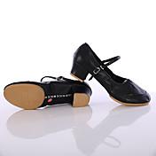 Mujer Zapatos de Baile Latino / Zapatillas de Baile Cuero Suela Dividida Hebilla Tacón Cuadrado Personalizables Zapatos de baile Negro /