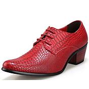 Hombre Zapatos Cuero Patentado Invierno Otoño Confort Oxfords para Casual Fiesta y Noche Negro Marrón Rojo