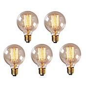 5個g95 e27 40wヴィンテージエジソン電球レトロランプ白熱電球(220-240v)
