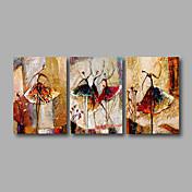 手描きの 抽象画 横式,近代の 3枚 キャンバス ハング塗装油絵 For ホームデコレーション