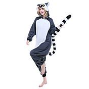 Pijamas Kigurumi Lémur Pijamas de una pieza Disfraz Lana Polar Azul Tinta Cosplay por Adulto Ropa de Noche de los Animales Dibujos