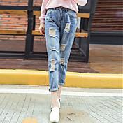 婦人向け シンプル / ストリートファッション ジーンズ パンツ,コットン マイクロエラスティック