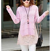 Mujer Largo Pullover Casual/Diario Simple,Un Color Rosa Blanco Gris Escote Redondo Manga Larga Rayón Otoño Fino Microelástico