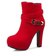 女性用 靴 レザーレット 冬 秋 ブーティー ブーツ チャンキーヒール プラットフォーム ベックル のために 結婚式 カジュアル パーティー ブラック レッド アーモンド