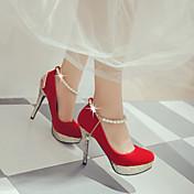 女性-アウトドア オフィス カジュアル-レザーレット-スティレットヒール-クラブシューズ 靴を点灯-ヒール-ブラック レッド ホワイト