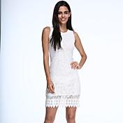 Mujer Corte Bodycon Vestido Fiesta/Cóctel Escote Redondo Hasta la Rodilla Sin Mangas Blanco / Negro Algodón Verano Microelástico Opaco
