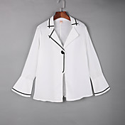 女性 カジュアル/普段着 秋 シャツ,シンプル シャツカラー ソリッド ホワイト / ブラック コットン 長袖 ミディアム