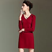 膝の長い袖赤綿の夏の高層上記burdullyシンプルなシースdresssolidを外出/花柄Vネック