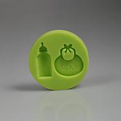 3d baby tilbehør bib flaske silikone kage skimmel dekoration baby fødselsdag farve tilfældigt