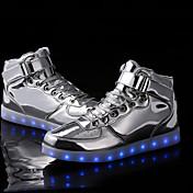 Unisex-Tacón Plano-Confort Botas a la Moda Light Up Zapatos-Zapatillas de deporte-Exterior Informal Deporte-Sintético-Plata Oro