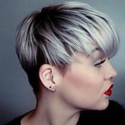Mujer Pelo humano pelucas sin tapa Plata Corto Liso Corte Pixie Con flequillo Raíces oscuras Parte lateral
